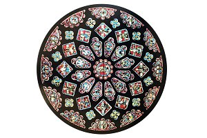Vintage Stained Glass Raster Circle