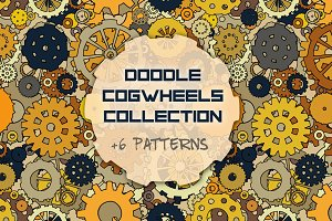 Set of cartoon doodle gears