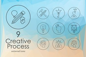 9 Creative Process line icons