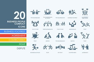 20 Business People Conflict icon