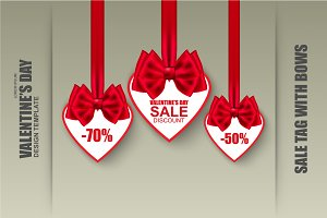 Valentine`s day sale tag with bows