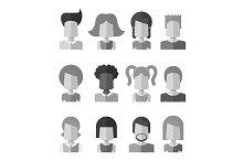 12 Grayscale Avatars Set