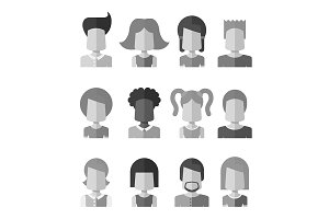 12 Grayscale Avatars Set