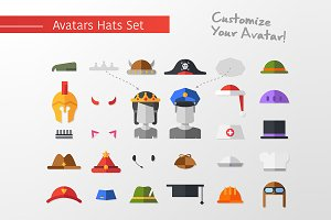 Flat Design Hats & Caps for Avatars