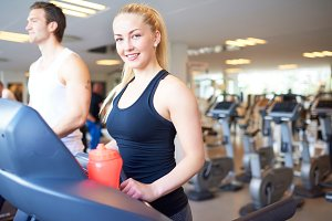 Woman on treadmill smiling