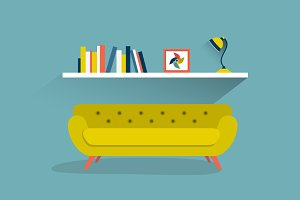 Retro sofa and book shelf.