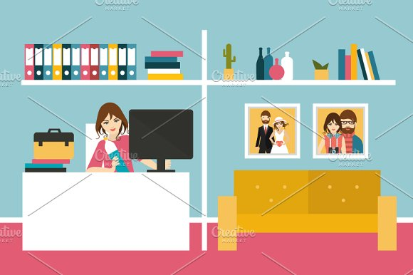 Freelancer. Woman work day at home. - Illustrations