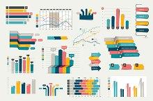 Set of business flat, 3D charts.