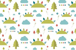 Kids wall paper pattern. Forest.