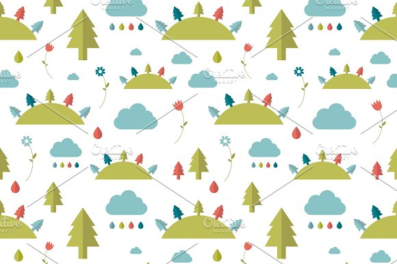 Kids wall paper pattern. Forest. - Patterns