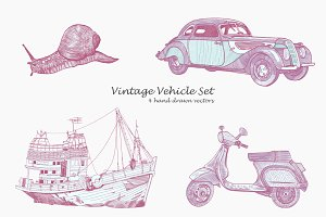 Vintage vehicle set
