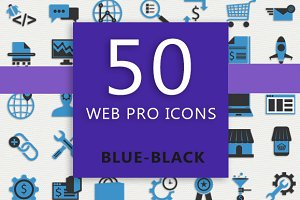 50 Web Pro Icons (Blue-Black)