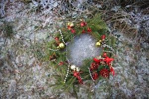 Christmas wreath with golden balls