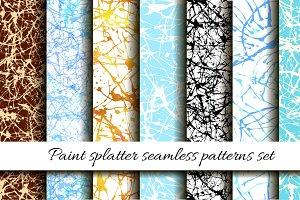 Paint splatter seamless pattern set