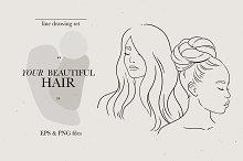 Your beautiful hair. Line art set.