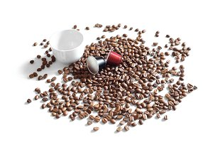 Coffee beans, Cup and capsules