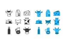 Dairy and milk icons set