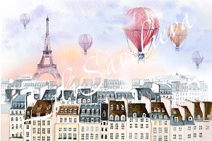 Paris with hot air balloon