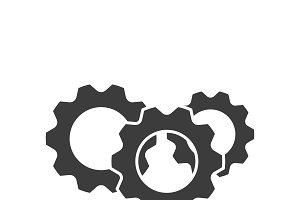 Gear logo grey color with shadow