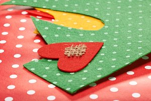 Love, Valentines Day. Polka dots felt, red heart