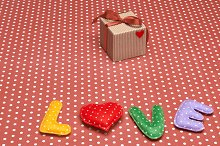 Love, Valentines Day. Word polka dots,heart,ribbon