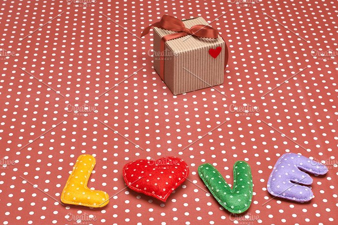 Love, Valentines Day. Word polka dots,heart,ribbon - Arts & Entertainment