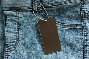 Blue jeans with blank paper label