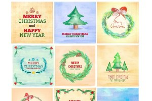 18Christmas Illustrations Watercolor