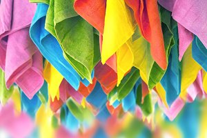 Colourful hanging towels