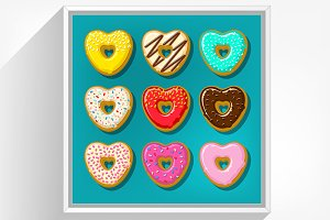 Different donuts in shape of heart