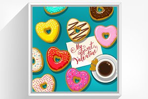 Cup of black coffee and donuts