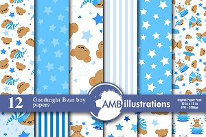 Digital Papers Teddy Bear AMB-985