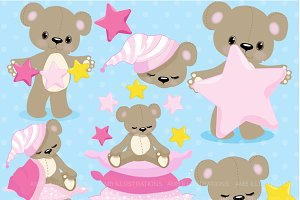 Teddy Bear Clipart in Pink, AMB-981