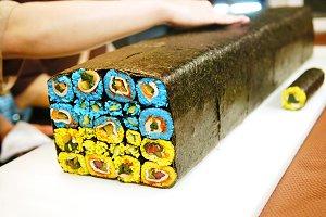 Sushi in color of Ukrainian flag