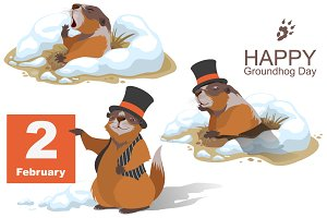 Groundhog Day. Set of 3 marmots