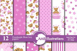 Digital Papers Teddy Bear AMB-986
