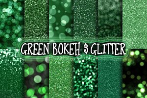Green Glitter & Bokeh Backgrounds
