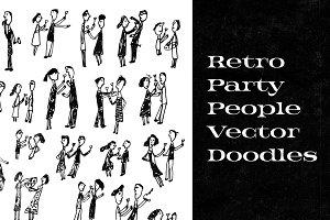 Retro Party People Vector Doodles