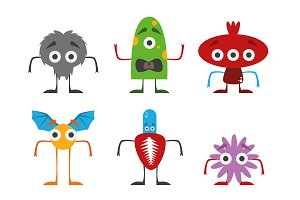 Monsters Set Vector Illustration