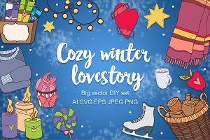 Cozy winter lovestory - big DIY set