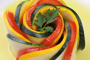 Appetizer of zucchini and tomatoes