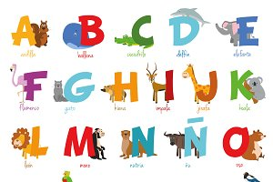 Spanish animal alphabet Vector