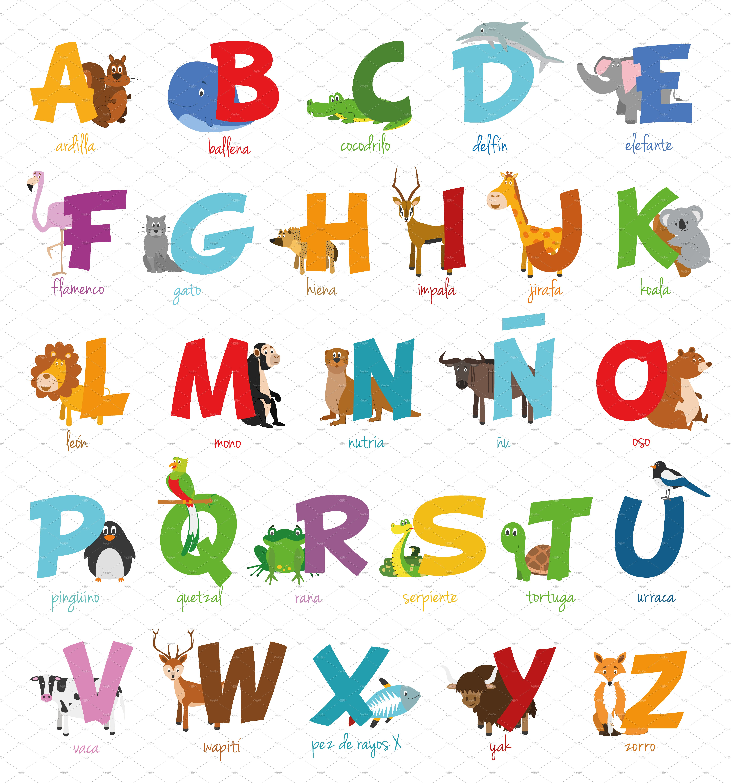 Spanish animal alphabet Vector ~ Illustrations ~ Creative ...
