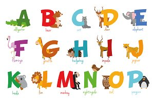 English animal alphabet Vector