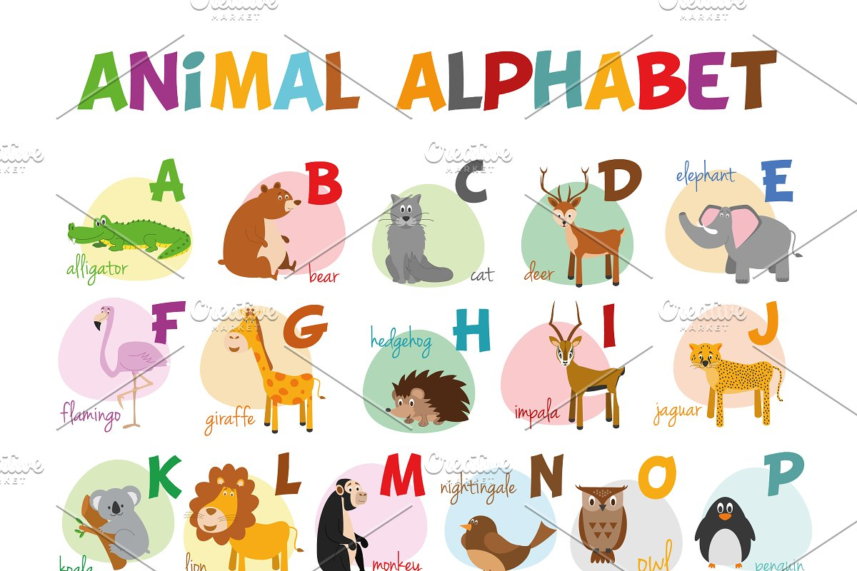 English animal alphabet Vector