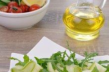Zucchini salad with arugula and feta
