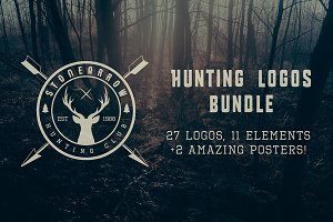 Set of vintage hunting logos