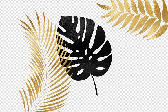Black And Gold Tropical Leaves Clipart Creative Market Choose from 680+ tropical leaf graphic resources and download in the form of png, eps, ai or psd. black and gold tropical leaves