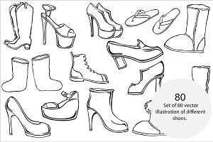 Different shoes vector