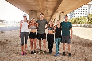 Portrait of running club group